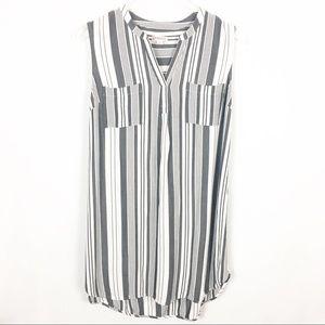 Merona Sleeveless Tunic Gray Stripe Pockets Large